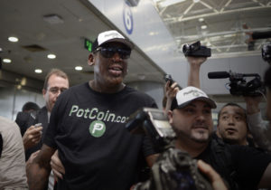 A cryptocurrency for marijuana is backing Dennis Rodman's trip to Singapore
