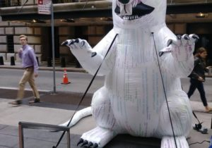 Why Someone Put a Giant, Inflatable Bitcoin Rat on Wall Street, Facing the Federal Reserve Bank