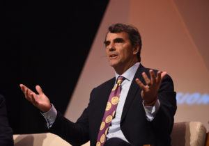 Silicon Valley's Tim Draper, wearing a bitcoin tie, says crypto coins are good for humanity
